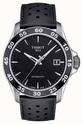 Tissot Herren v8 swissmatic schwarzes Zifferblatt schwarzes Lederband T1064071605100