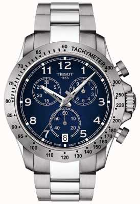 Tissot Mens v8 Quarz Chronograph blaues Zifferblatt aus Edelstahl T1064171104200