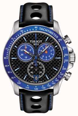 Tissot Mens V8 Alpinblau Zifferblatt Kohlefaser Zifferblatt schwarzes Leder T1064171620101