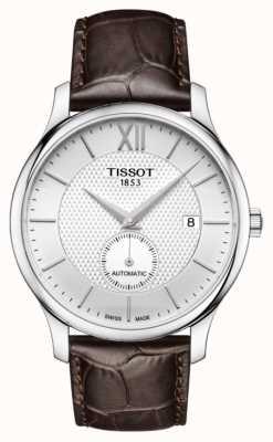 Tissot Mens Tradition automatische kleine zweite Zifferblatt braunes Leder T0634281603800