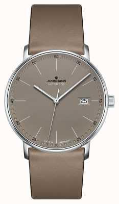Junghans Bilden Sie eine automatische braune Lederarmbanduhr 027/4832.00