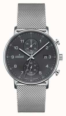 Junghans Herren Form C Chronoskop Silber Mesh Armband 041/4877.44