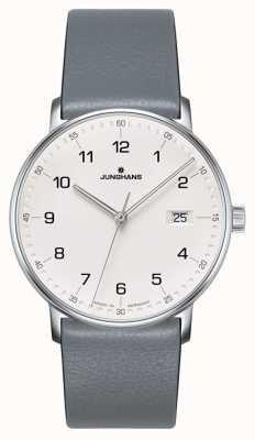 Junghans Form quarzgraue Kalbslederarmbanduhr 041/4885.00