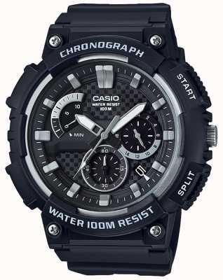 Casio Chronograph schwarzes Resingehäuse schwarzes Resinarmband Datumsanzeige MCW-200H-1AVEF