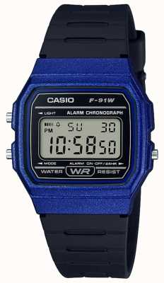 Casio Alarm Chronograph blau & schwarz Gehäuse F-91WM-2AEF