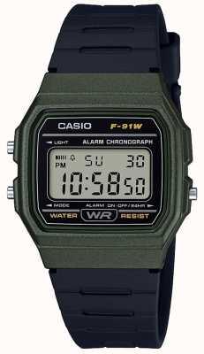 Casio Alarm Chronograph grünes und schwarzes Gehäuse F-91WM-3AEF