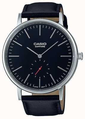 Casio Saphirglas schwarz echtes Lederarmband LTP-E148L-1AEF