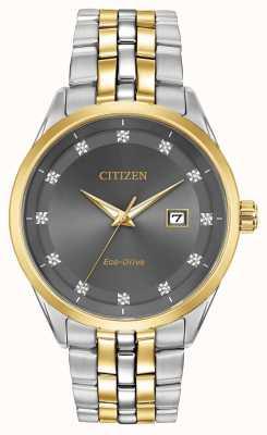 Citizen Corso Herren Diamanten Set graues Zifferblatt Armband BM7258-54H