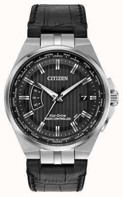 Citizen Men's World Perpetual am schwarzen Zifferblatt schwarzes Lederarmband CB0160-00E