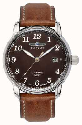Zeppelin | serie lz127 | automatisches Datum | braunes Lederband | 8656-3