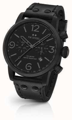 TW Steel Maverick Kaliber Chronograph schwarzes Lederarmband schwarzes Zifferblatt MS114