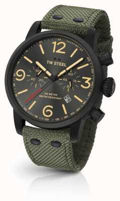 TW Steel Maverick Kaliber Chronograph grün Canvas Armband schwarzes Zifferblatt MS124