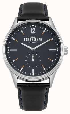 Ben Sherman Mattes dunkelblaues Zifferblatt und schwarzes Lederarmband WB015UB