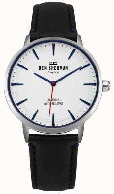 Ben Sherman Mattweißes Zifferblatt und schwarzes Lederarmband WB020B
