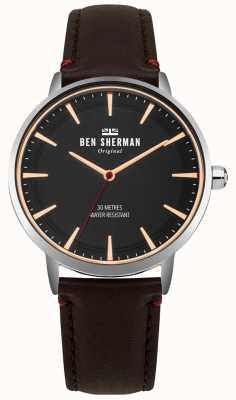 Ben Sherman Mattschwarzes Zifferblatt und braunes Lederarmband WB020BR