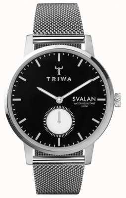 Triwa Ebony svalan schwarzes Zifferblatt Edelstahl-Mesh-Armband SVST103-MS121212