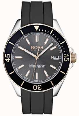 Hugo Boss Ocean Edition graues Zifferblatt Datumsanzeige schwarzes Kautschukarmband 1513558