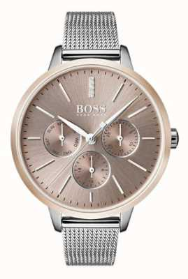 Boss Schwarzes Symphony Day & Date-Display, roségoldfarbenes Mesh-Armband 1502423