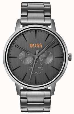 Hugo Boss Orange Herren Copenhagen Day & Date Display grau Zifferblatt ip beschichtet 1550068