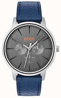 Hugo Boss Orange Graues Zifferblatt Tag & Datum Sub Dial blau Lederband 1550066