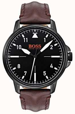 Hugo Boss Orange Schwarzes Zifferblatt dunkelbraunes Lederband schwarzes Gehäuse mit IP-Beschichtung 1550062