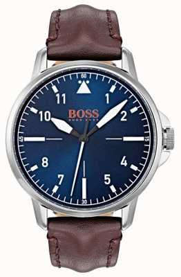 Hugo Boss Orange Blaues Zifferblatt weiße Markierungen dunkelbraunes Lederarmband 1550060