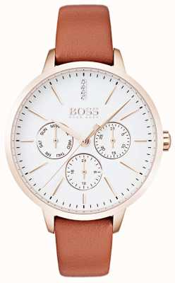 Hugo Boss Weißes Zifferblatt mit Datum und Datumsanzeige aus roségoldfarbenem Leder 1502420