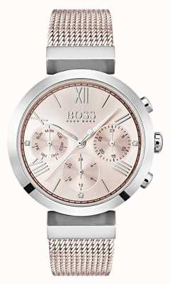 Hugo Boss Chronograph rosa Zifferblatt Tag & Datum Nebenzifferblätter 1502426