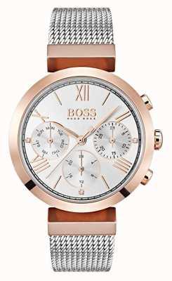 Boss Silber Zifferblatt Tag & Datumsanzeige römische Ziffern Mesh-Armband 1502427