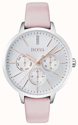 Hugo Boss Silbernes Zifferblatt Tag & Datum Nebenzifferblatt Kristall-Set aus rosa Leder 1502419