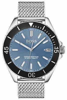 Hugo Boss Hellblaues Zifferblatt aus schwarzem Lünette Ocean Edition Mesh-Armband 1513561