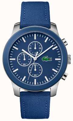 Lacoste Mens 12.12 Chronograph blaues Zifferblatt blau Nylonband 2010945