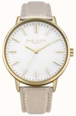 Daisy Dixon Damen Harper weißes Zifferblatt Goldgehäuse rosa Lederarmband DD061GG