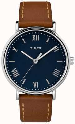 Timex Herren Südansicht 41mm braunes Lederarmband blaues Zifferblatt TW2R63900D7PF