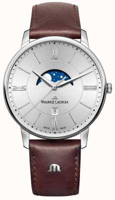 Maurice Lacroix Mens eliros moonphase braun Lederarmband silbernes Zifferblatt EL1108-SS001-110-1
