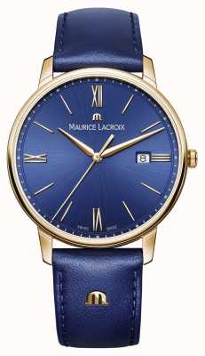 Maurice Lacroix Mens eliros vergoldetes Gehäuse blaues Zifferblatt Lederarmband EL1118-PVP01-411-1
