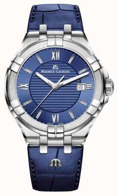 Maurice Lacroix Aikon Herren blaues Zifferblatt blau Lederband AI1008-SS001-430-1
