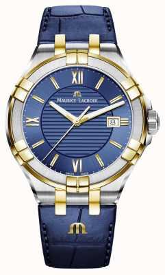 Maurice Lacroix Herren aikon Blau und Gold zweifarbiges Lederarmband AI1008-PVY11-432-1
