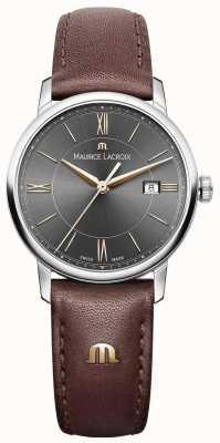 Maurice Lacroix Damen eliros braunes Lederband schwarzes Zifferblatt goldene Akzente EL1094-SS001-311-1
