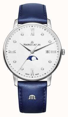 Maurice Lacroix Eliros Mondphase blaues Lederarmband silbernes Zifferblatt EL1096-SS001-150-1