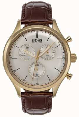 Hugo Boss Mens Begleiter Chronograph Uhr braun Lederband 1513545