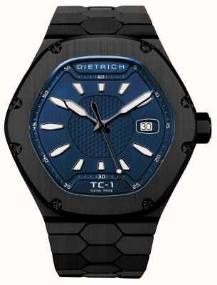 Dietrich Zeit Begleiter automatisches schwarzes PVD blaues Zifferblatt TC-1 PVD BLUE
