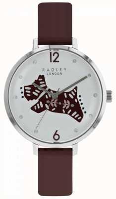 Radley Damenuhr aus Leder mit silbernem Zifferblatt aus Beerenlederarmband RY2581