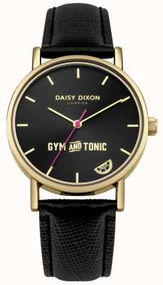 Daisy Dixon Damen Gym & Tonic Blaire schwarzes Lederarmband schwarzes Zifferblatt DD079BG