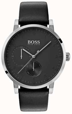 Boss Herren Sauerstoff alle schwarzen Uhr Lederarmband Sunray Zifferblatt 1513594
