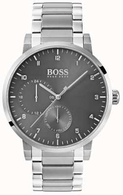 Hugo Boss Herrenarmbanduhr aus Edelstahl in grau mit Sonnenschliff 1513596