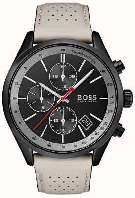 Hugo Boss Mens Grand-Prix-Uhr schwarz Chronograph grau Lederband 1513562