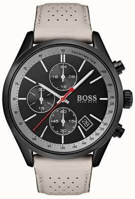 Boss Grand-Prix-Uhr für Herren mit schwarzem Chronographen und grauem Lederarmband 1513562