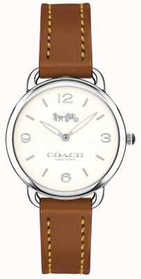 Coach Delancey Damen braunes Lederarmband Uhr weißes Zifferblatt 14502789