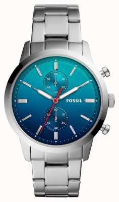 Fossil Mens Townman Uhr blau ombre Zifferblatt Edelstahlarmband FS5434
